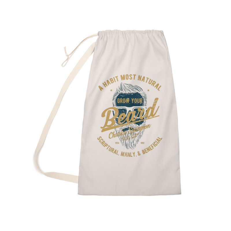 Grow Your Beard! | Charles Spurgeon | Blue & Gold Accessories Laundry Bag Bag by Reformed Christian Goods & Clothing