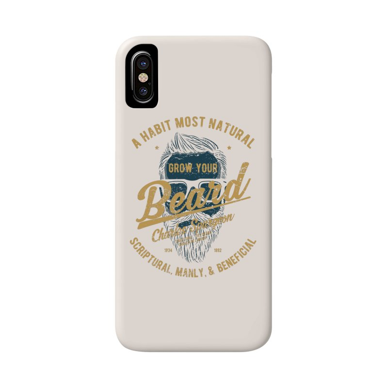 Grow Your Beard! | Charles Spurgeon | Blue & Gold Accessories Phone Case by Reformed Christian Goods & Clothing