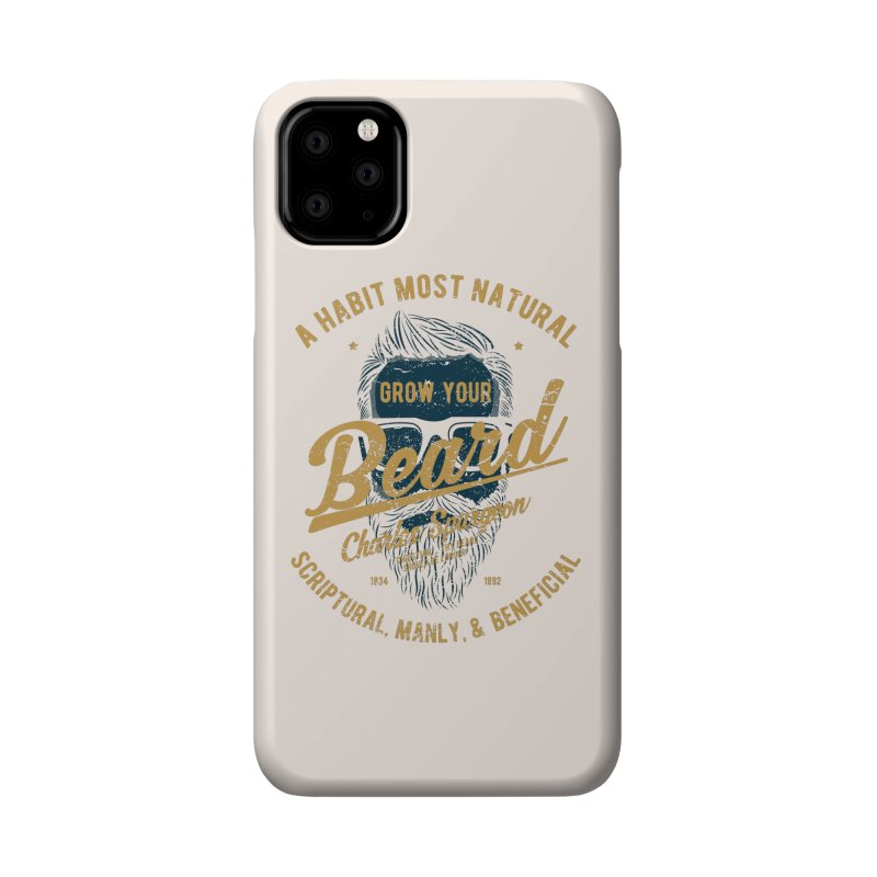 Grow Your Beard! | Charles Spurgeon | Blue & Gold Accessories Phone Case by A Worthy Manner Goods & Clothing