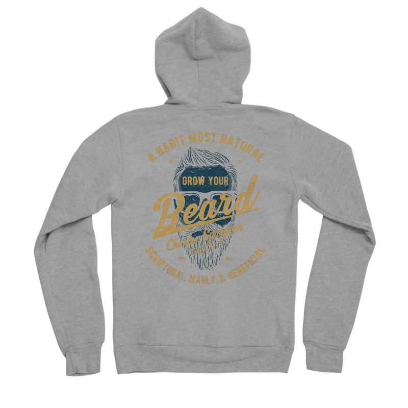 Grow Your Beard! | Charles Spurgeon | Blue & Gold Men's Sponge Fleece Zip-Up Hoody by Reformed Christian Goods & Clothing