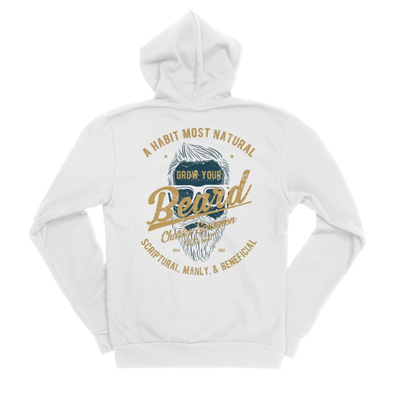 Grow Your Beard! | Charles Spurgeon | Blue & Gold Women's Sponge Fleece Zip-Up Hoody by Reformed Christian Goods & Clothing