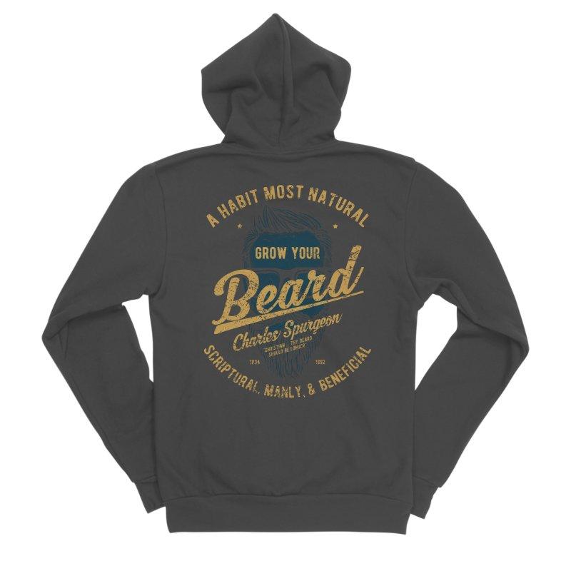Grow Your Beard!   Charles Spurgeon   Blue & Gold Men's Sponge Fleece Zip-Up Hoody by A Worthy Manner Goods & Clothing