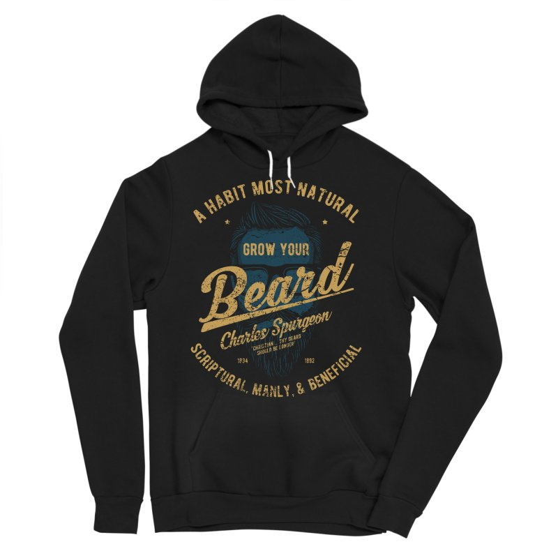 Grow Your Beard! | Charles Spurgeon | Blue & Gold Men's Sponge Fleece Pullover Hoody by A Worthy Manner Goods & Clothing