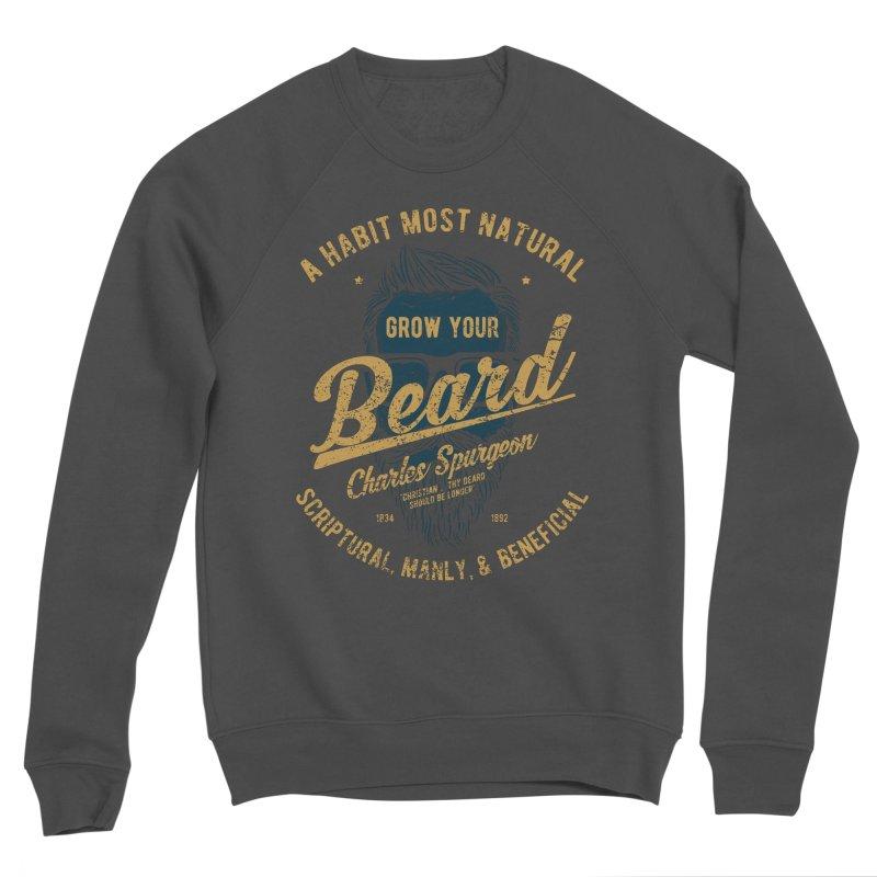 Grow Your Beard! | Charles Spurgeon | Blue & Gold Men's Sponge Fleece Sweatshirt by Reformed Christian Goods & Clothing