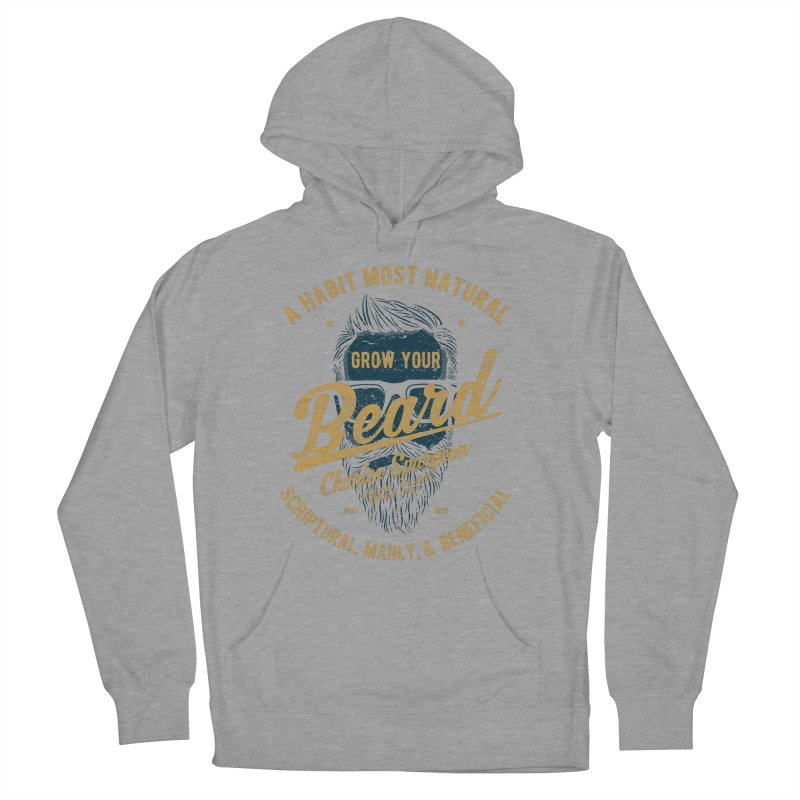 Grow Your Beard! | Charles Spurgeon | Blue & Gold Men's French Terry Pullover Hoody by A Worthy Manner Goods & Clothing
