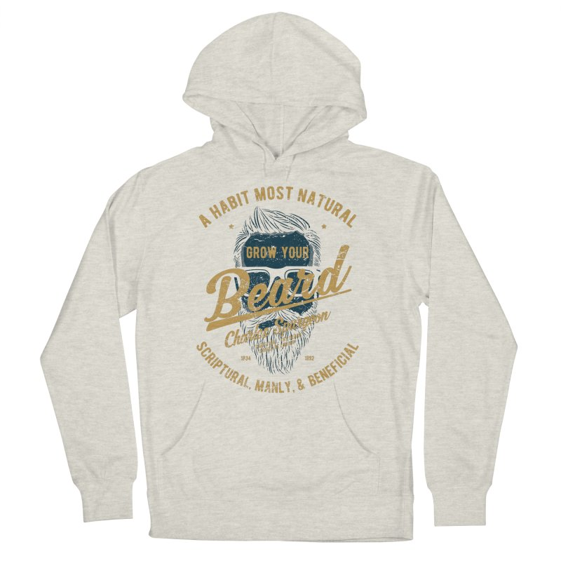 Grow Your Beard! | Charles Spurgeon | Blue & Gold Men's French Terry Pullover Hoody by Reformed Christian Goods & Clothing