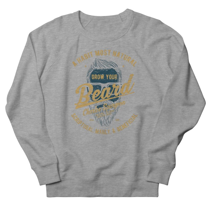 Grow Your Beard! | Charles Spurgeon | Blue & Gold Men's French Terry Sweatshirt by Reformed Christian Goods & Clothing