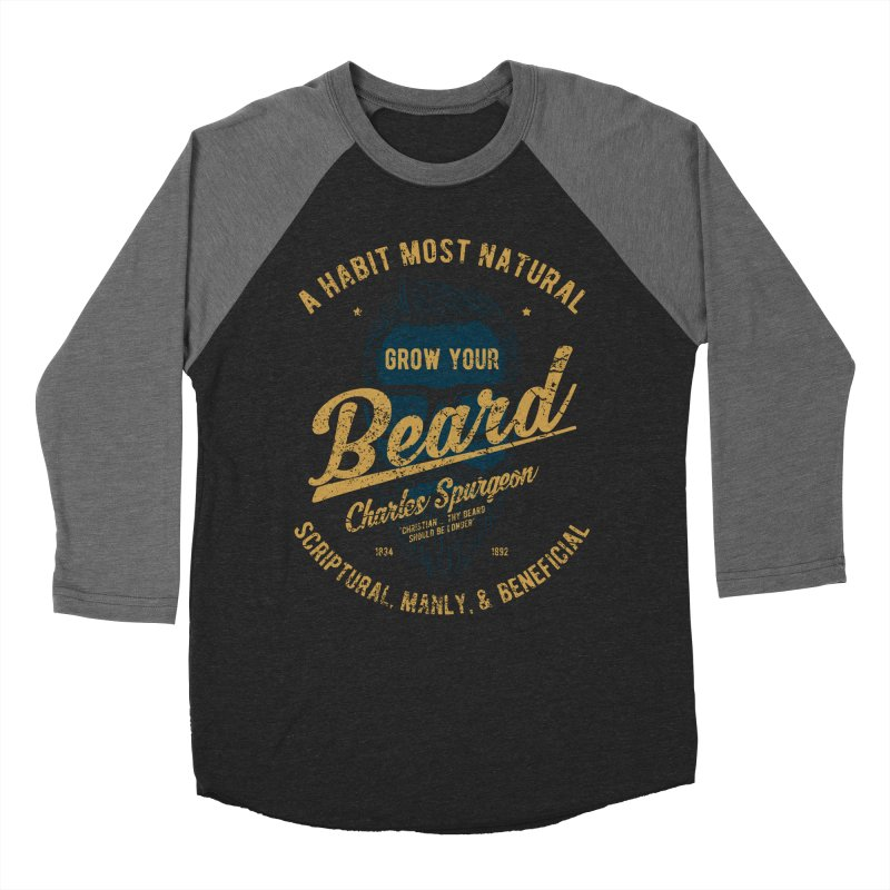 Grow Your Beard! | Charles Spurgeon | Blue & Gold Women's Baseball Triblend Longsleeve T-Shirt by Reformed Christian Goods & Clothing