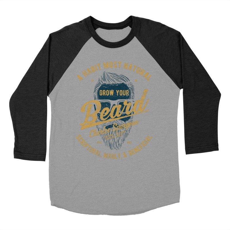 Grow Your Beard!   Charles Spurgeon   Blue & Gold Women's Baseball Triblend Longsleeve T-Shirt by A Worthy Manner Goods & Clothing