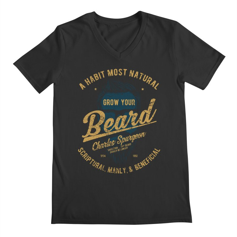 Grow Your Beard! | Charles Spurgeon | Blue & Gold Men's Regular V-Neck by A Worthy Manner Goods & Clothing