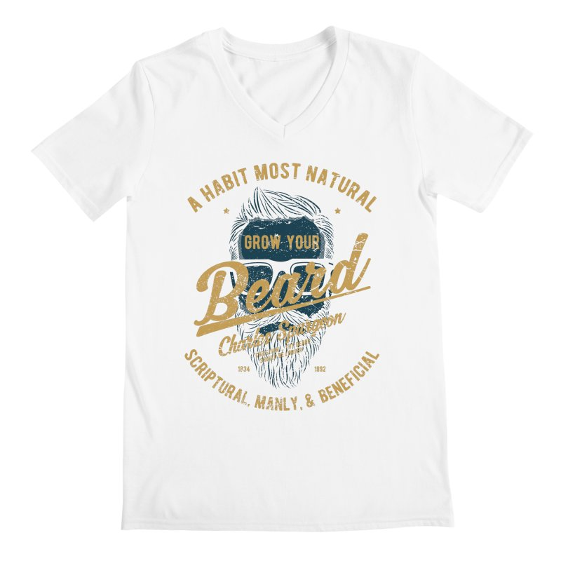 Grow Your Beard! | Charles Spurgeon | Blue & Gold Men's V-Neck by A Worthy Manner Goods & Clothing