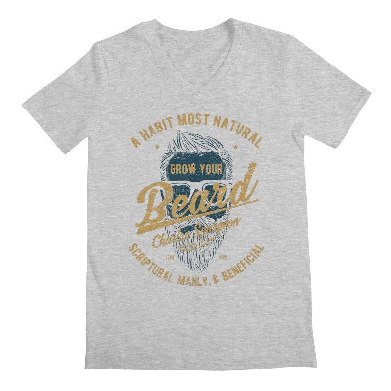 Grow Your Beard! | Charles Spurgeon | Blue & Gold Men's Regular V-Neck by Reformed Christian Goods & Clothing