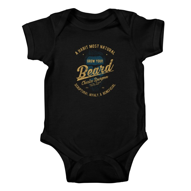 Grow Your Beard! | Charles Spurgeon | Blue & Gold Kids Baby Bodysuit by A Worthy Manner Goods & Clothing