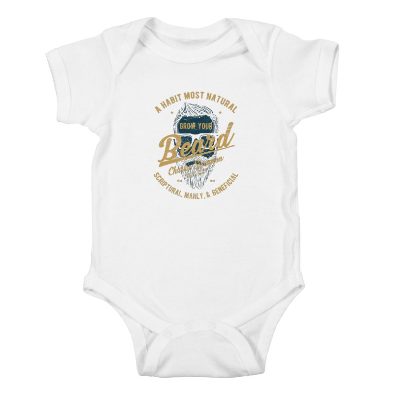 Grow Your Beard! | Charles Spurgeon | Blue & Gold Kids Baby Bodysuit by Reformed Christian Goods & Clothing