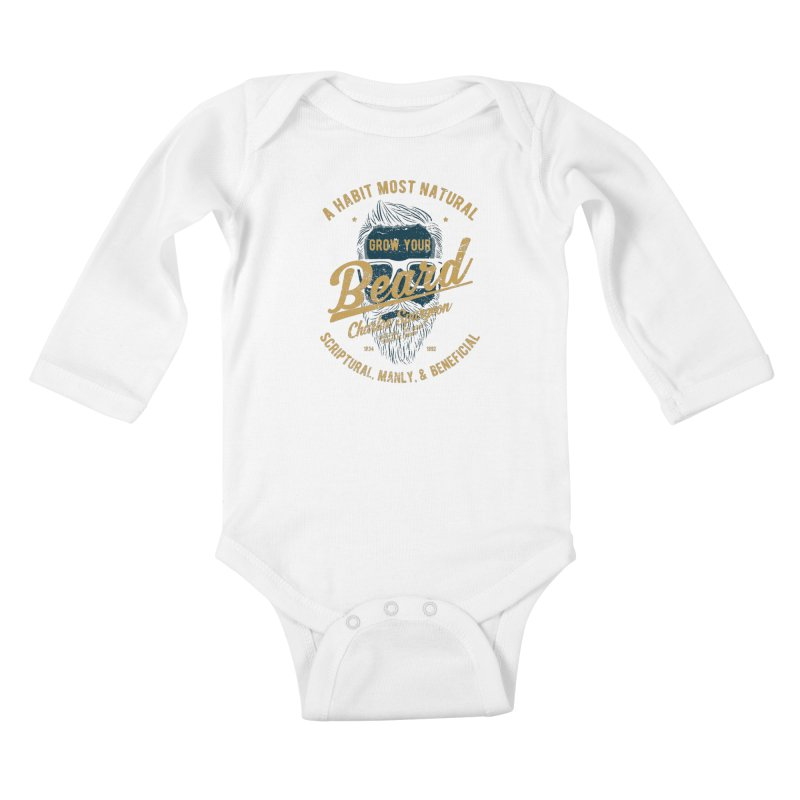 Grow Your Beard! | Charles Spurgeon | Blue & Gold Kids Baby Longsleeve Bodysuit by Reformed Christian Goods & Clothing