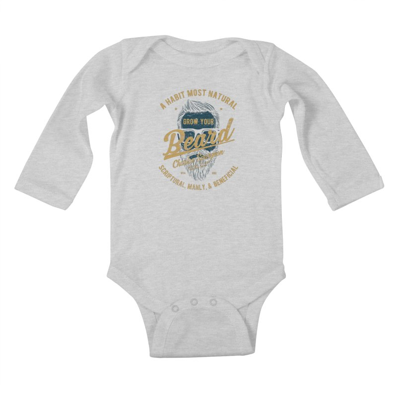 Grow Your Beard! | Charles Spurgeon | Blue & Gold Kids Baby Longsleeve Bodysuit by A Worthy Manner Goods & Clothing