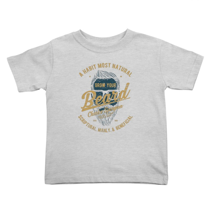 Grow Your Beard! | Charles Spurgeon | Blue & Gold Kids Toddler T-Shirt by Reformed Christian Goods & Clothing