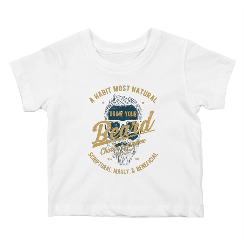 Grow Your Beard! | Charles Spurgeon | Blue & Gold Kids Baby T-Shirt by Reformed Christian Goods & Clothing