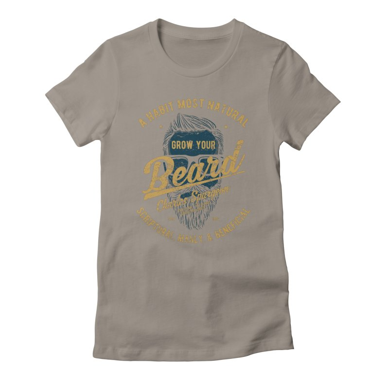 Grow Your Beard!   Charles Spurgeon   Blue & Gold Women's T-Shirt by A Worthy Manner Goods & Clothing