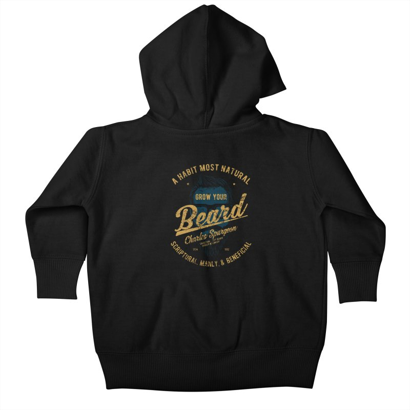Grow Your Beard! | Charles Spurgeon | Blue & Gold Kids Baby Zip-Up Hoody by Reformed Christian Goods & Clothing