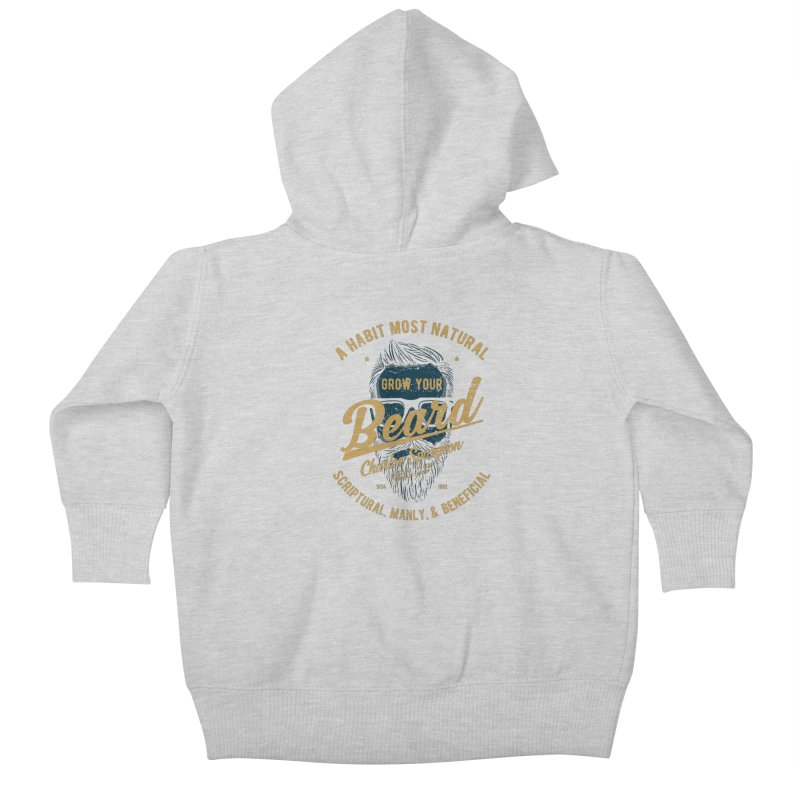 Grow Your Beard! | Charles Spurgeon | Blue & Gold Kids Baby Zip-Up Hoody by A Worthy Manner Goods & Clothing