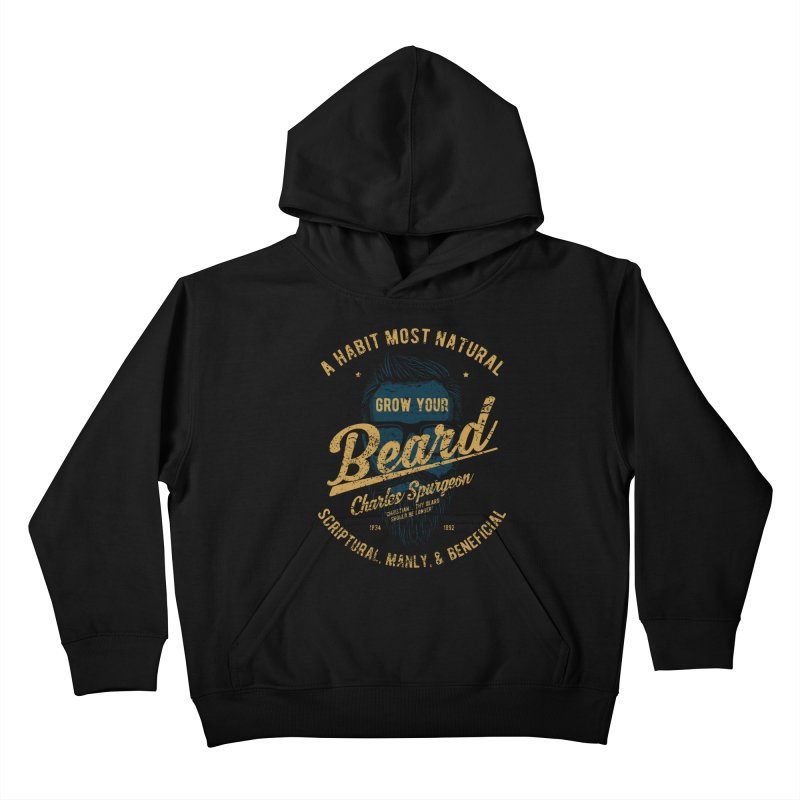 Grow Your Beard! | Charles Spurgeon | Blue & Gold Kids Pullover Hoody by Reformed Christian Goods & Clothing