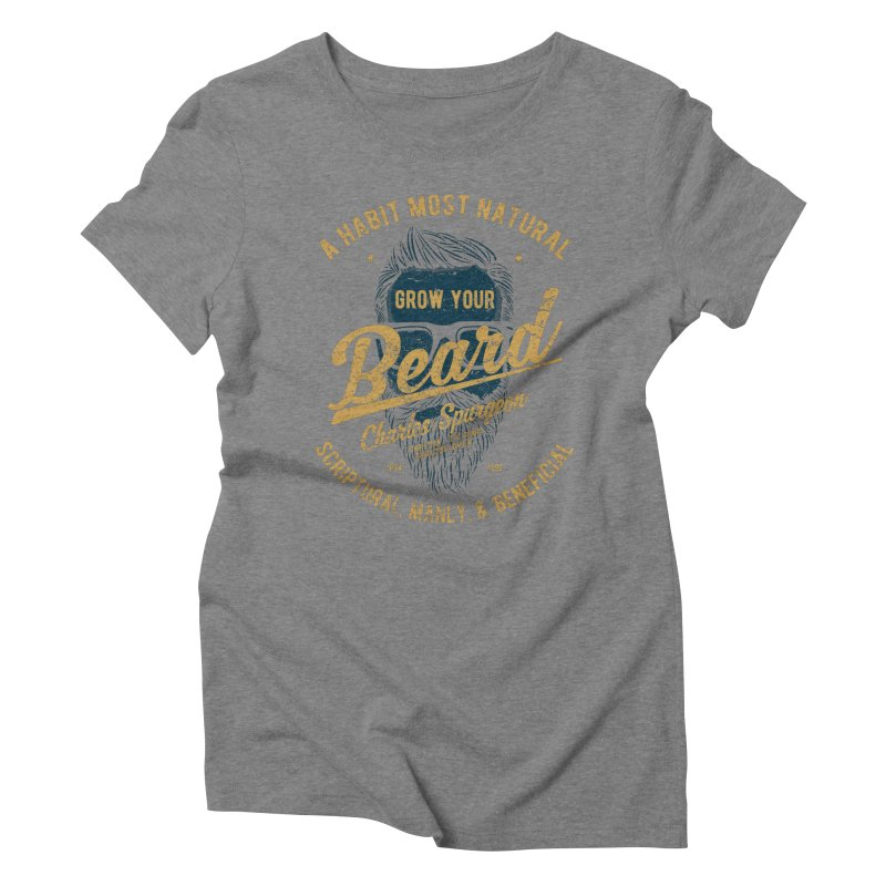 Grow Your Beard! | Charles Spurgeon | Blue & Gold Women's Triblend T-Shirt by A Worthy Manner Goods & Clothing