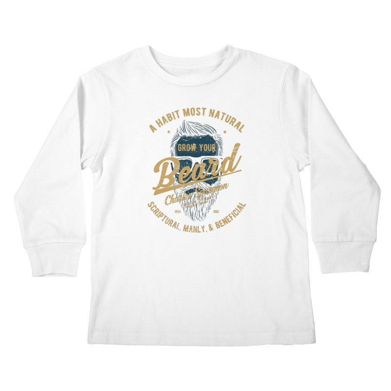 Grow Your Beard! | Charles Spurgeon | Blue & Gold Kids Longsleeve T-Shirt by A Worthy Manner Goods & Clothing