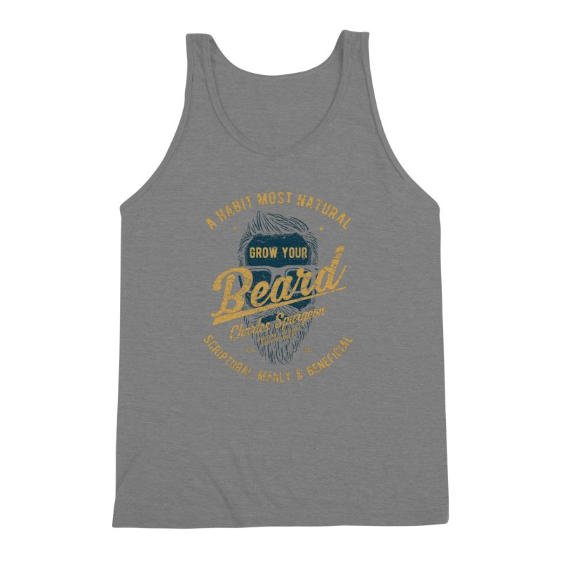 Grow Your Beard! | Charles Spurgeon | Blue & Gold Men's Triblend Tank by Reformed Christian Goods & Clothing