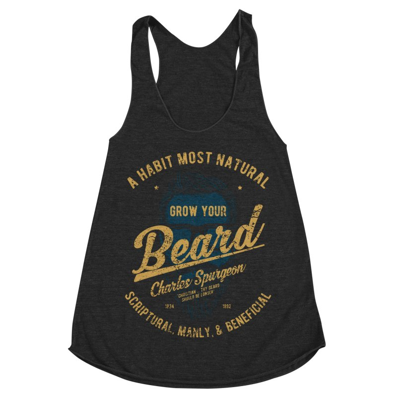 Grow Your Beard! | Charles Spurgeon | Blue & Gold Women's Racerback Triblend Tank by A Worthy Manner Goods & Clothing