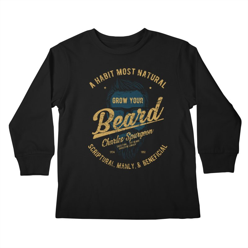 Grow Your Beard! | Charles Spurgeon | Blue & Gold Kids Longsleeve T-Shirt by Reformed Christian Goods & Clothing