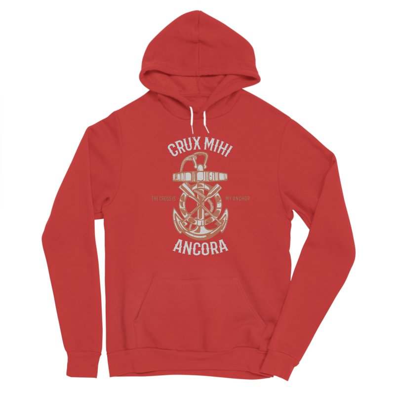 Crux Mihi Ancora   The Cross Is My Anchor   White & Red Women's Pullover Hoody by A Worthy Manner Goods & Clothing