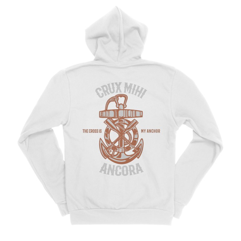 Crux Mihi Ancora | The Cross Is My Anchor | White & Red Women's Sponge Fleece Zip-Up Hoody by A Worthy Manner Goods & Clothing