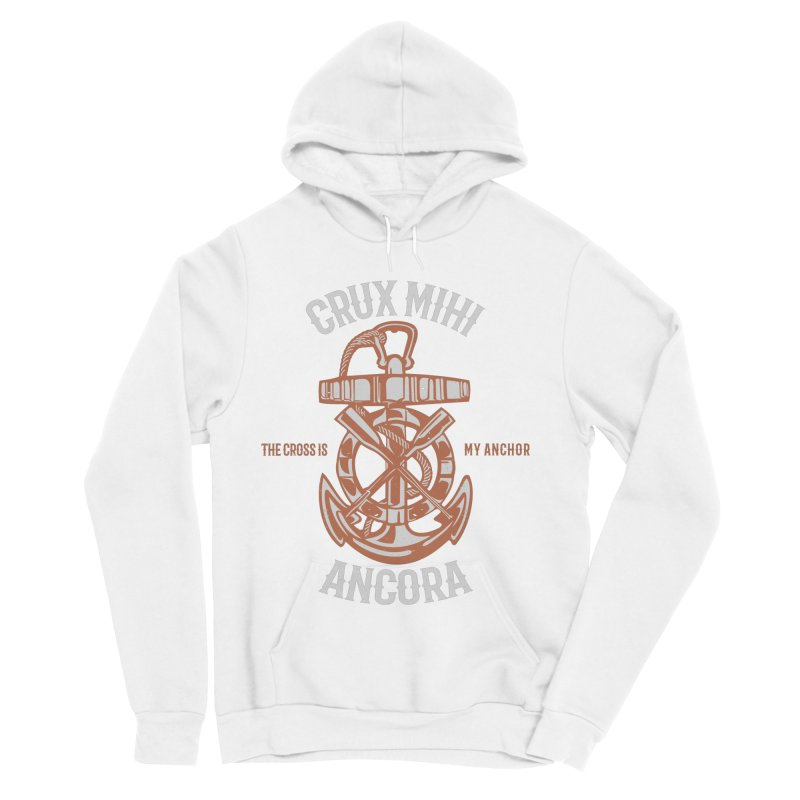 Crux Mihi Ancora | The Cross Is My Anchor | White & Red Men's Sponge Fleece Pullover Hoody by A Worthy Manner Goods & Clothing
