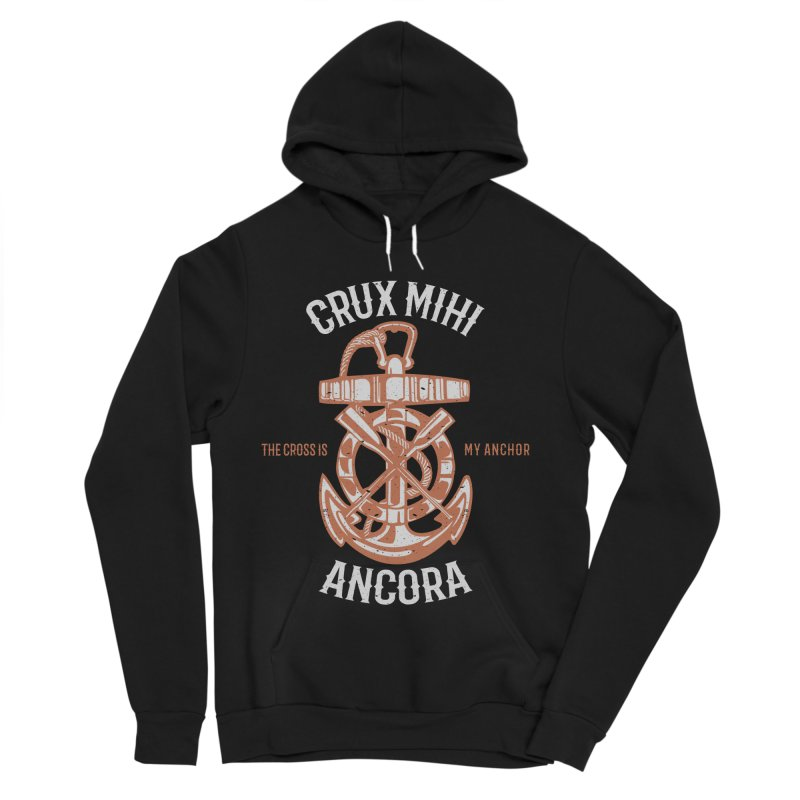 Crux Mihi Ancora | The Cross Is My Anchor | White & Red Women's Sponge Fleece Pullover Hoody by A Worthy Manner Goods & Clothing