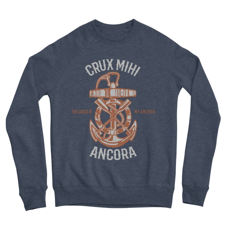Crux Mihi Ancora | The Cross Is My Anchor | White & Red Men's Sponge Fleece Sweatshirt by Reformed Christian Goods & Clothing