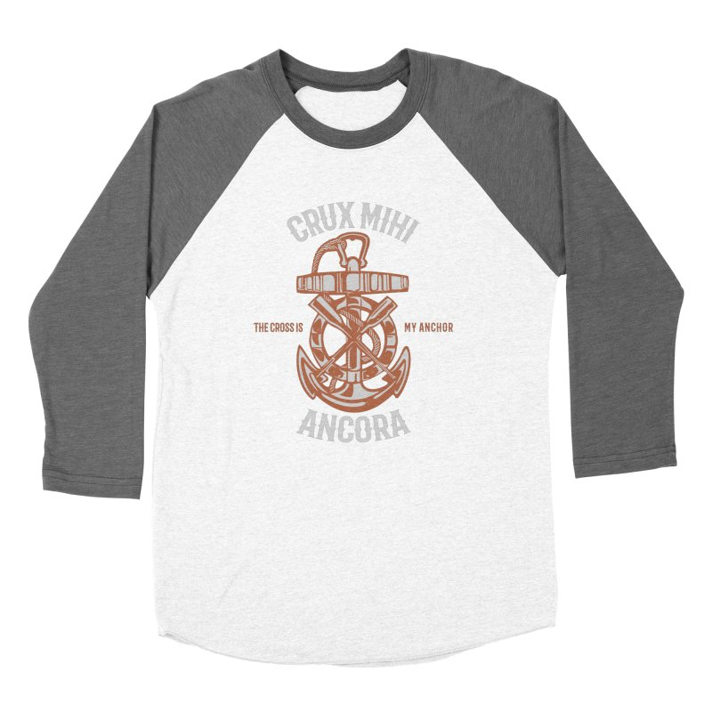 Crux Mihi Ancora | The Cross Is My Anchor | White & Red Women's Longsleeve T-Shirt by A Worthy Manner Goods & Clothing