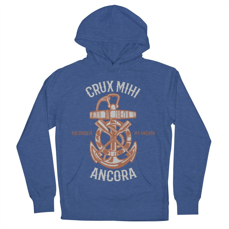 Crux Mihi Ancora | The Cross Is My Anchor | White & Red Men's French Terry Pullover Hoody by Reformed Christian Goods & Clothing