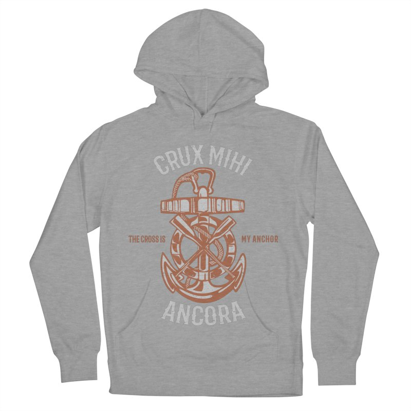 Crux Mihi Ancora | The Cross Is My Anchor | White & Red Men's French Terry Pullover Hoody by A Worthy Manner Goods & Clothing