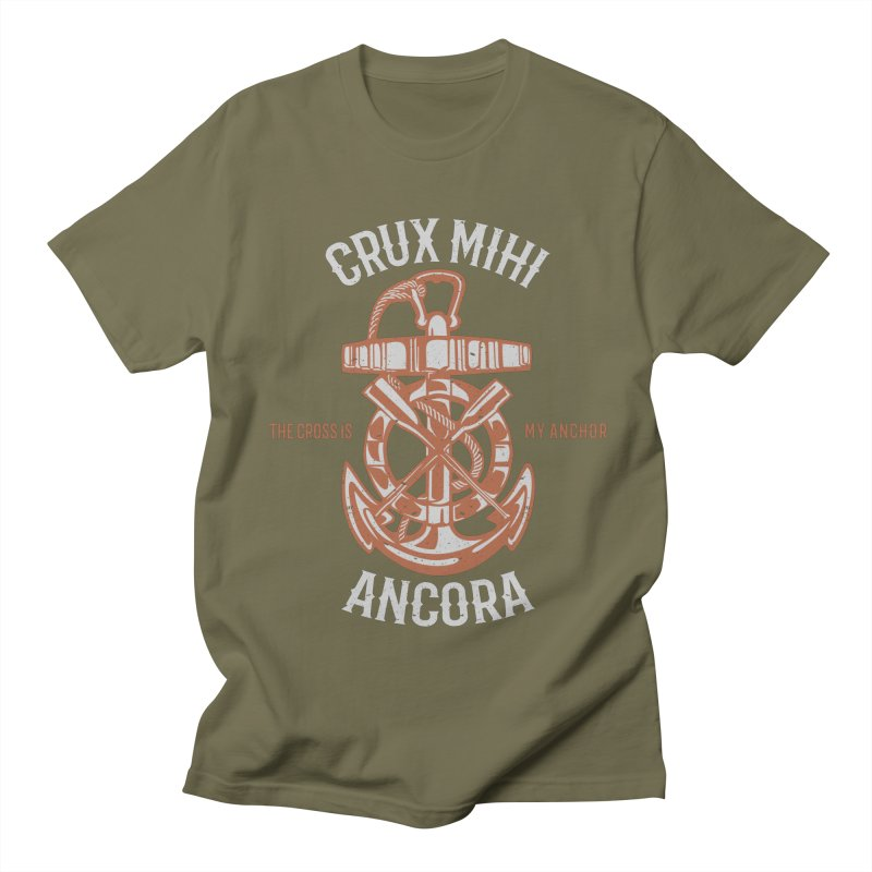 Crux Mihi Ancora   The Cross Is My Anchor   White & Red Men's Regular T-Shirt by Reformed Christian Goods & Clothing