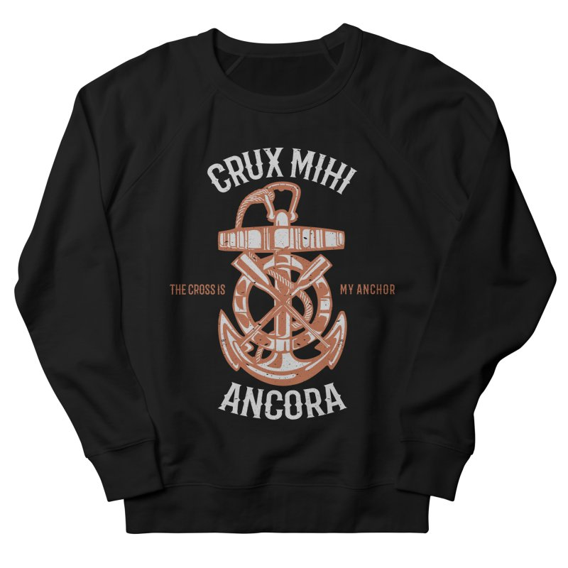 Crux Mihi Ancora | The Cross Is My Anchor | White & Red Men's French Terry Sweatshirt by A Worthy Manner Goods & Clothing