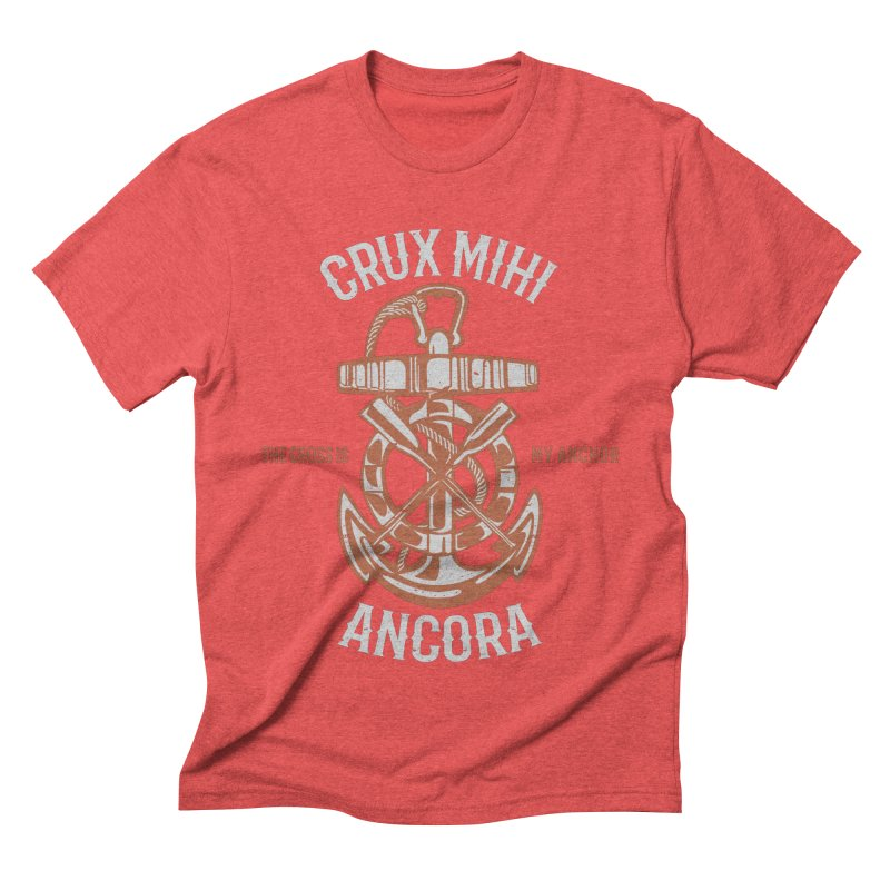 Crux Mihi Ancora | The Cross Is My Anchor | White & Red Men's Triblend T-Shirt by Reformed Christian Goods & Clothing