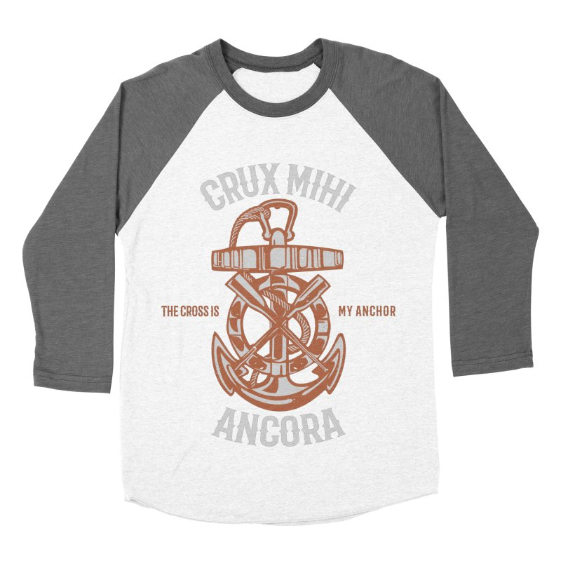 Crux Mihi Ancora | The Cross Is My Anchor | White & Red Men's Baseball Triblend Longsleeve T-Shirt by Reformed Christian Goods & Clothing