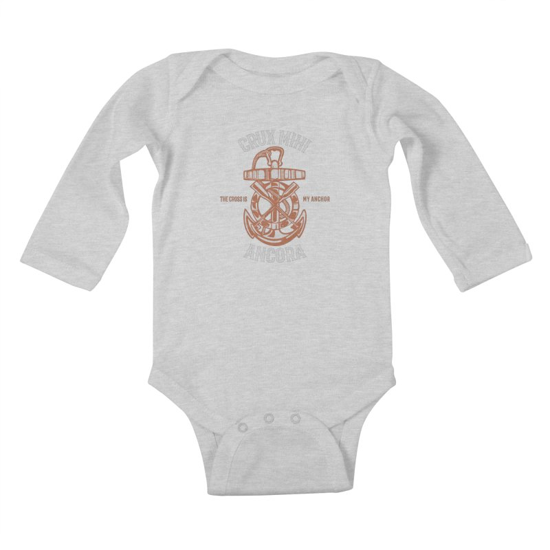Crux Mihi Ancora | The Cross Is My Anchor | White & Red Kids Baby Longsleeve Bodysuit by Reformed Christian Goods & Clothing