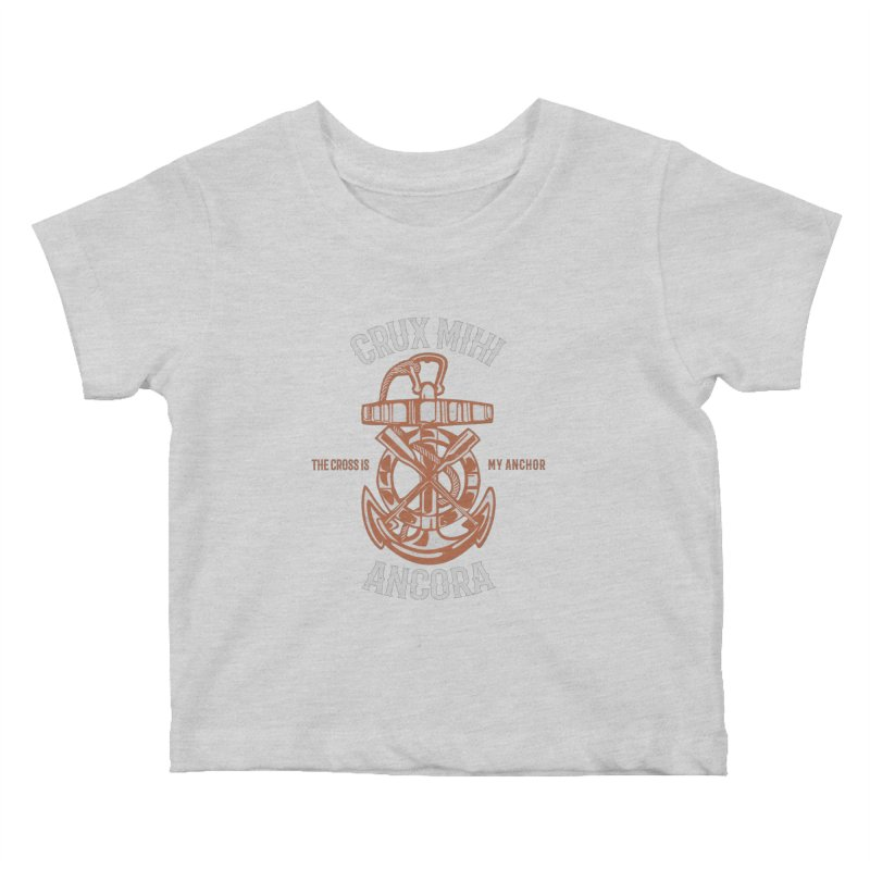 Crux Mihi Ancora | The Cross Is My Anchor | White & Red Kids Baby T-Shirt by Reformed Christian Goods & Clothing