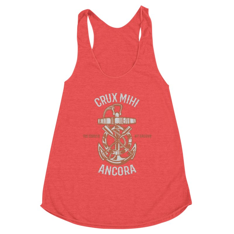Crux Mihi Ancora   The Cross Is My Anchor   White & Red Women's Tank by A Worthy Manner Goods & Clothing