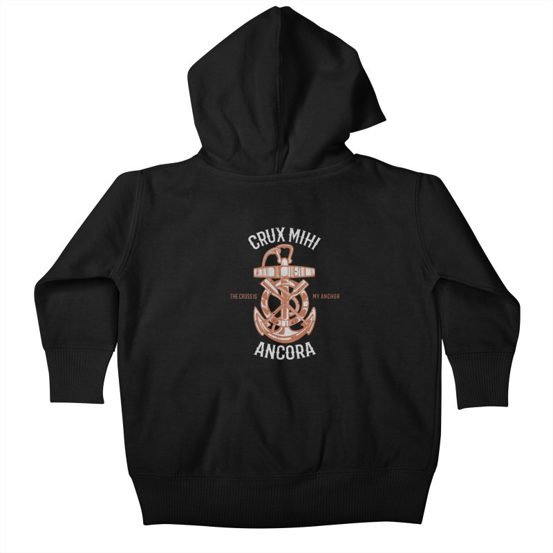 Crux Mihi Ancora | The Cross Is My Anchor | White & Red Kids Baby Zip-Up Hoody by Reformed Christian Goods & Clothing