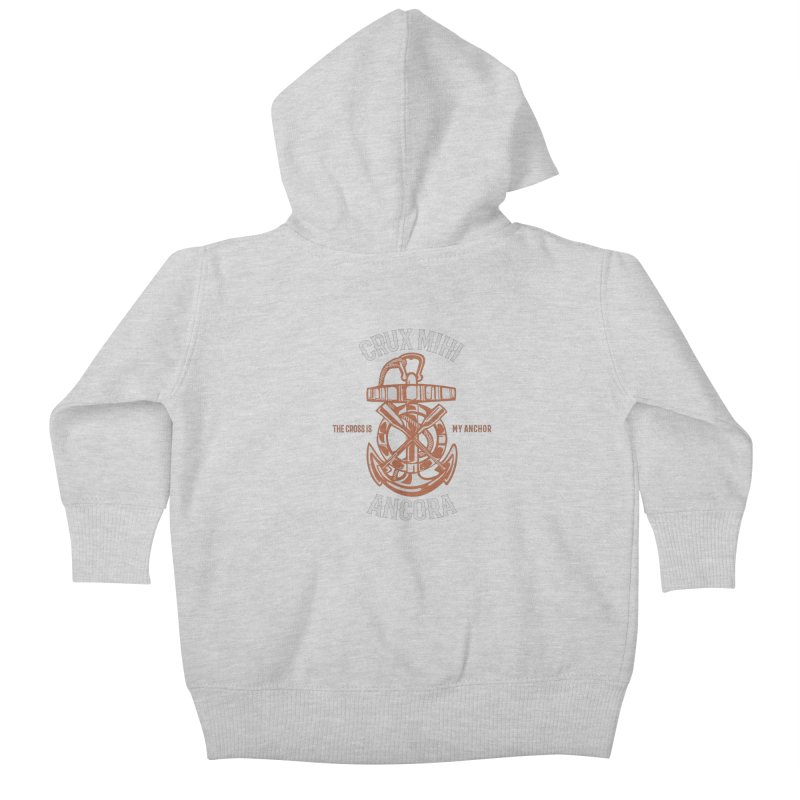 Crux Mihi Ancora | The Cross Is My Anchor | White & Red Kids Baby Zip-Up Hoody by A Worthy Manner Goods & Clothing