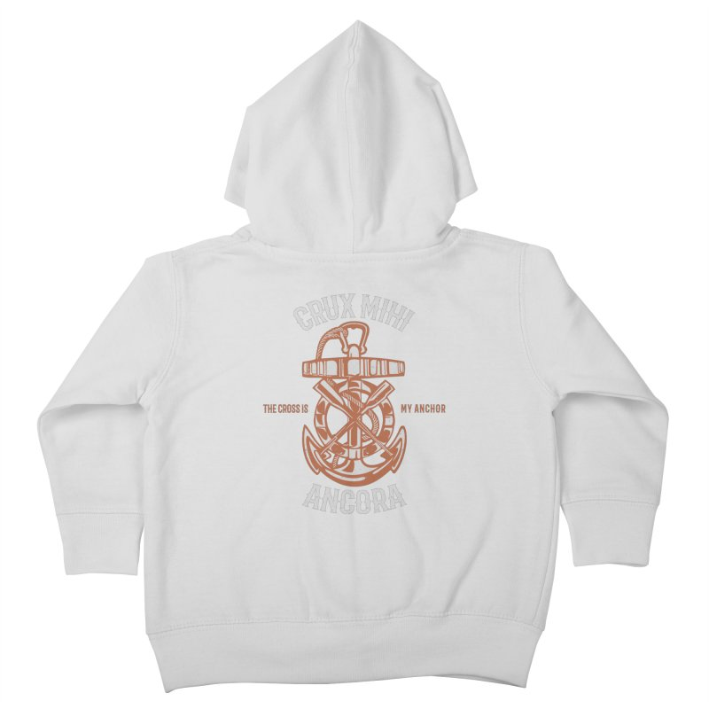 Crux Mihi Ancora | The Cross Is My Anchor | White & Red Kids Toddler Zip-Up Hoody by Reformed Christian Goods & Clothing