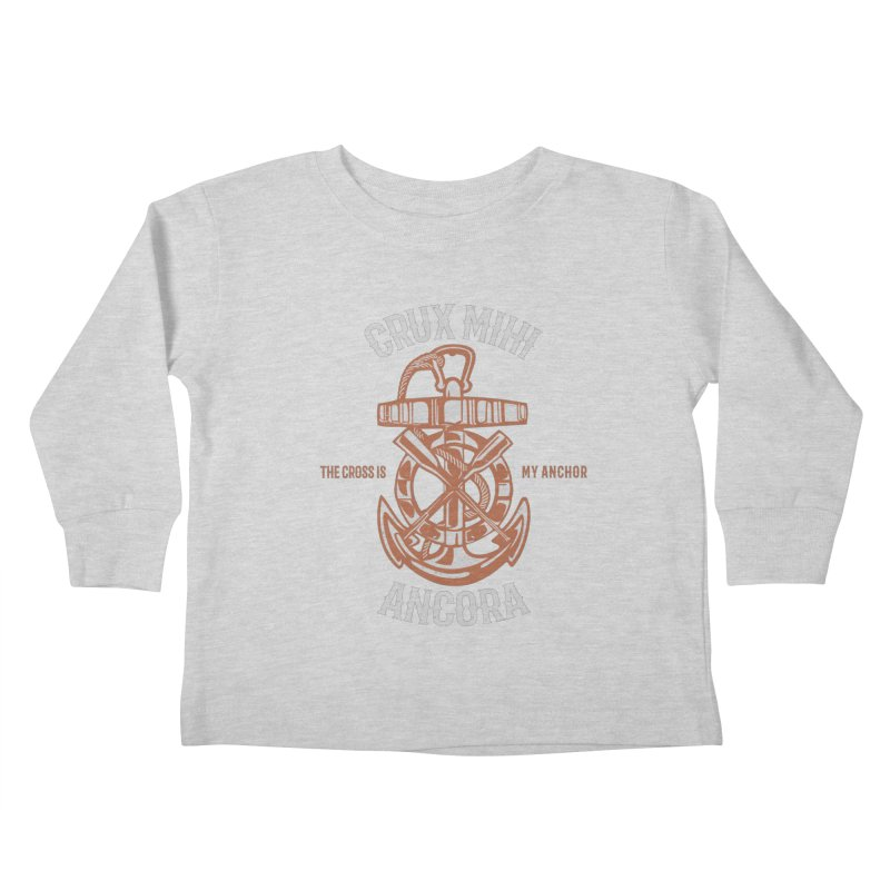 Crux Mihi Ancora | The Cross Is My Anchor | White & Red Kids Toddler Longsleeve T-Shirt by Reformed Christian Goods & Clothing